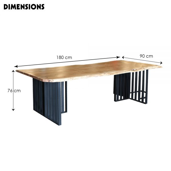 Wood Stock Dining Table-M-Dim