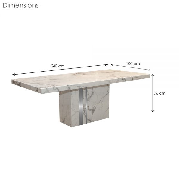 Agra Dining Table White Extra Large Dim