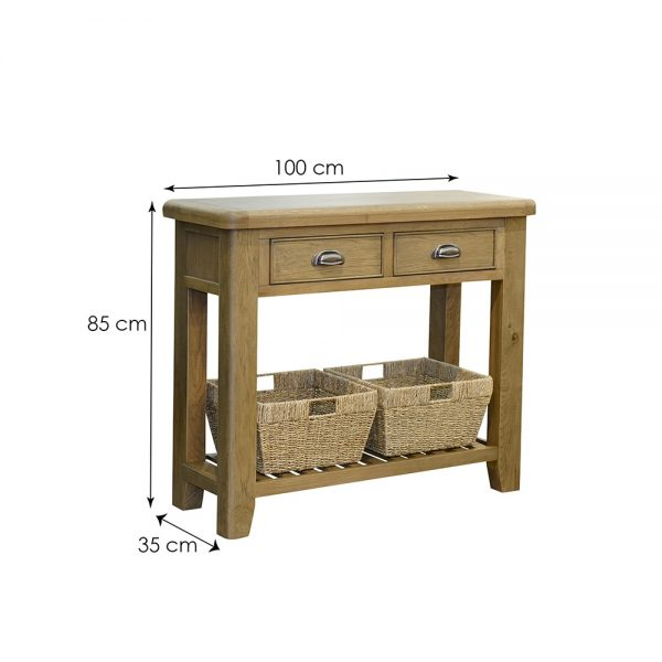 Ho Console Table Fair Furniture, Wiltshire Oak Console Table With Storage Baskets
